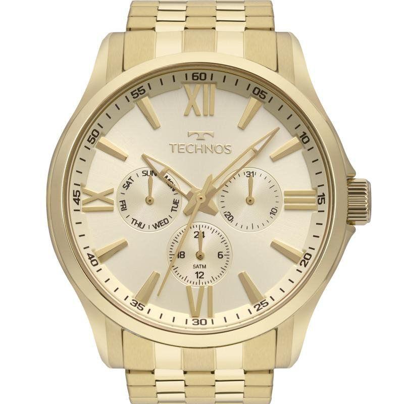 Relógio Technos Masculino Dourado Classic
