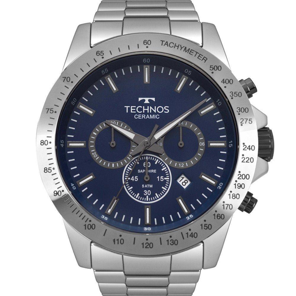 Relógio Technos Masculino Prata Ceramic