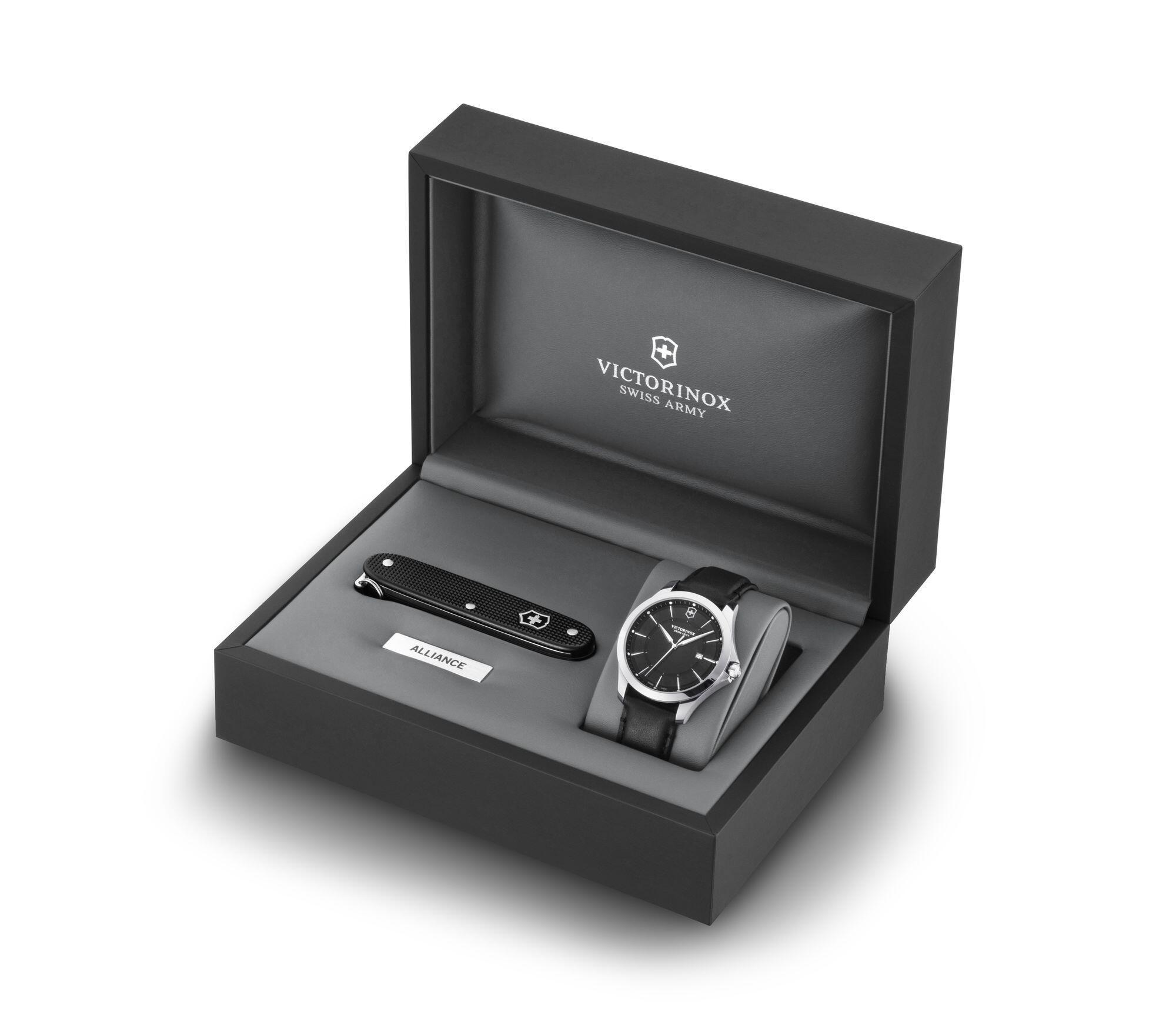 Kit Relógio Victorinox Masculino Preto + Canivete Suíço  - Alliance - 241904.1