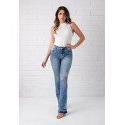Calça Bootcut Pkd Com Barra Desfiada Jeans