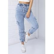 Calça Cargo Jeans Claro Pkd