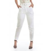 Calça Alfaiataria de Tecido Com Cinto Off White Olívia Pkd