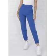 Calça Alfaiataria de Tecido Olívia Com Cinto  Azul Bic Pkd