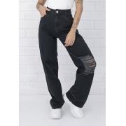 Calça Jeans  Wide Leg Pietra Black Destroyed Pkd