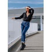 Calça Mom Pkd Com Elastano Jeans Escura
