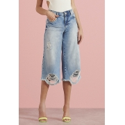 Calça Pantacourt Pkd Barra Destroyed Jeans