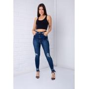 Calça Skinny Destroyed Pkd Gancho Alto Jeans Escuro