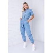 Macacão Utilitário Pkd com Zíper Frontal Jeans