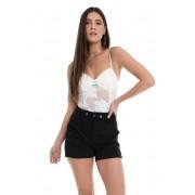 Shorts Pkd de Tecido Com Cinto Preto