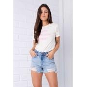 Shorts Pkd Hot Pant Barra Destroyed Jeans Claro