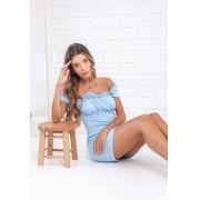 Vestido Ciganinha Malha Laise Pkd Azul Claro