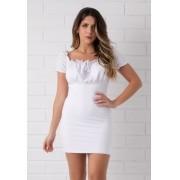 Vestido Ciganinha Malha Laise Pkd Branco