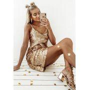 Vestido Pkd Paetê Dourado