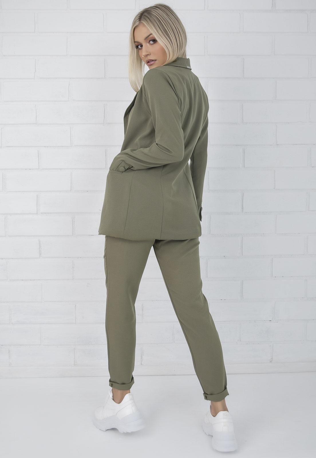Blazer Feminino Alfaiataria Alongado Verde Militar Ciara Pkd