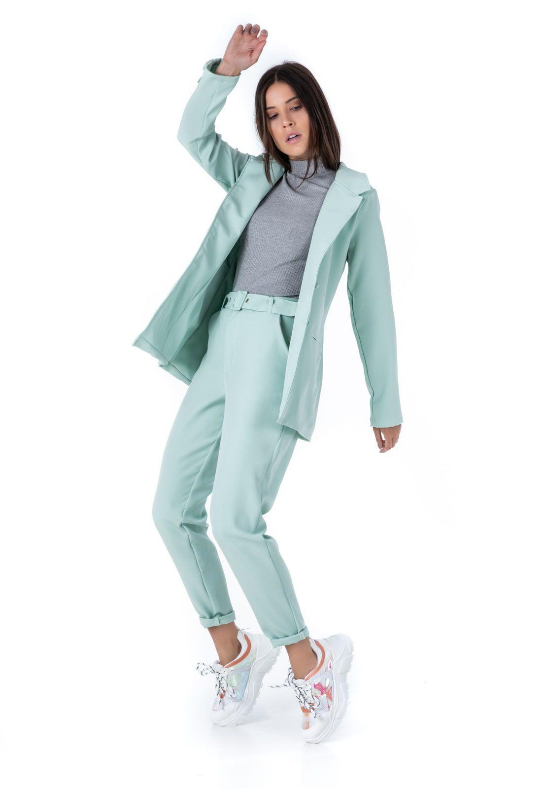 Blazer Feminino Alfaiataria Alongado Verde Mint Ciara Pkd
