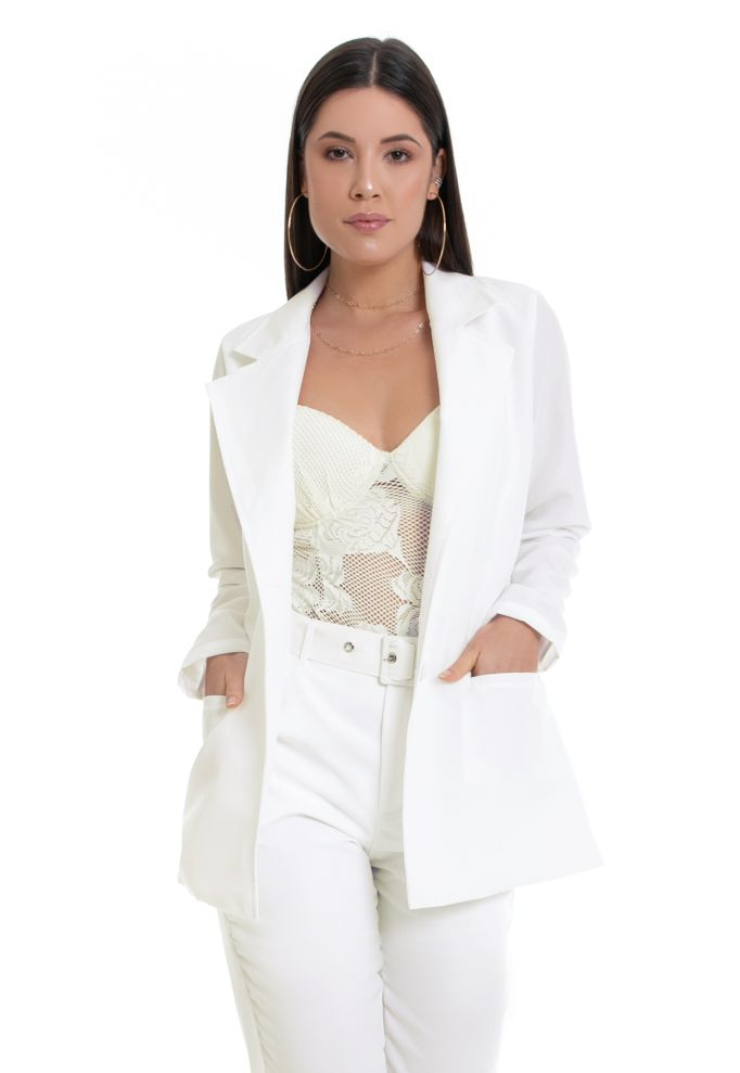 Blazer Feminino Alfaiataria Alongado Off White Ciara Pkd