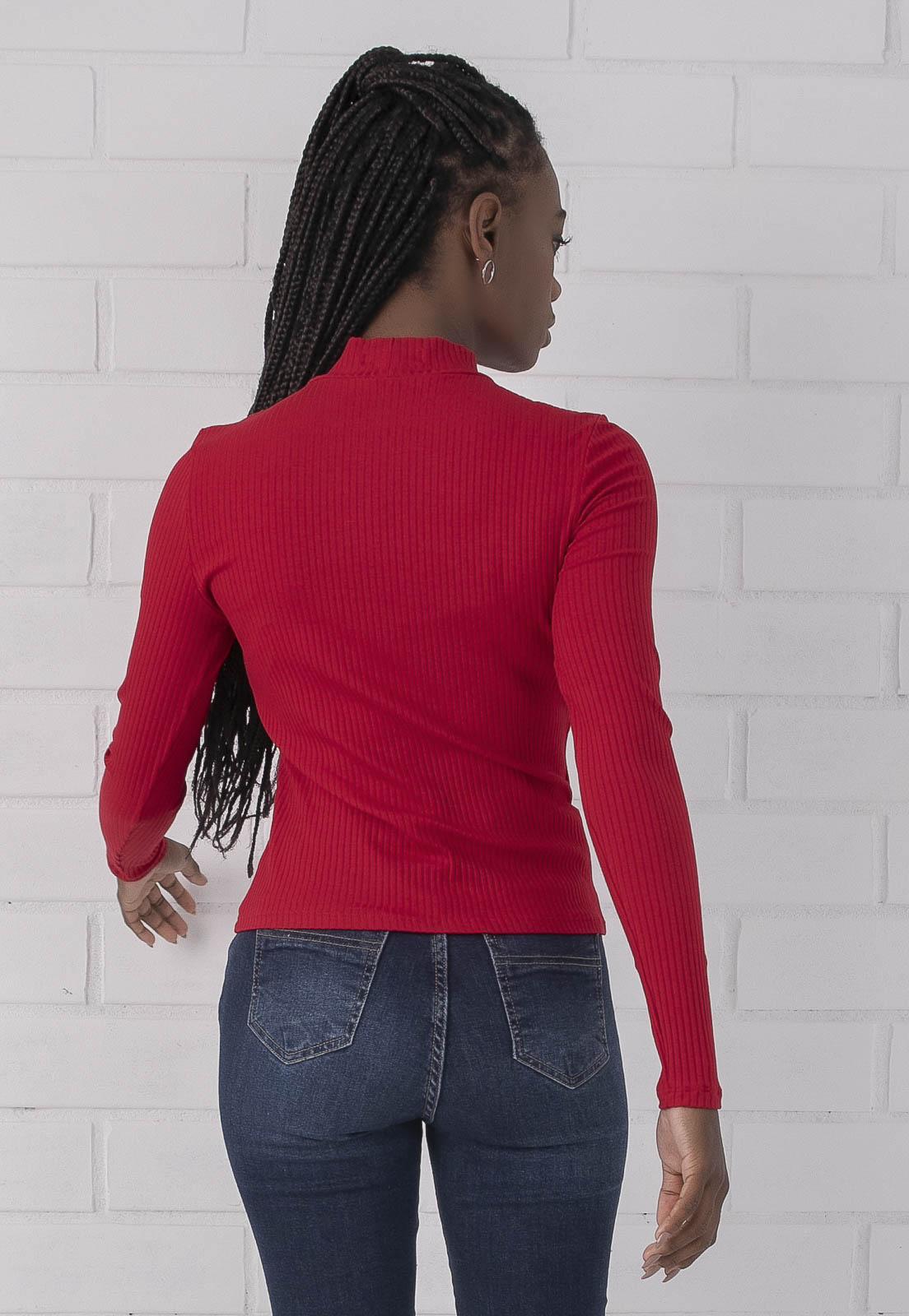 Blusa Canelada Manga Longa com Gola Alta Vermelho PKD