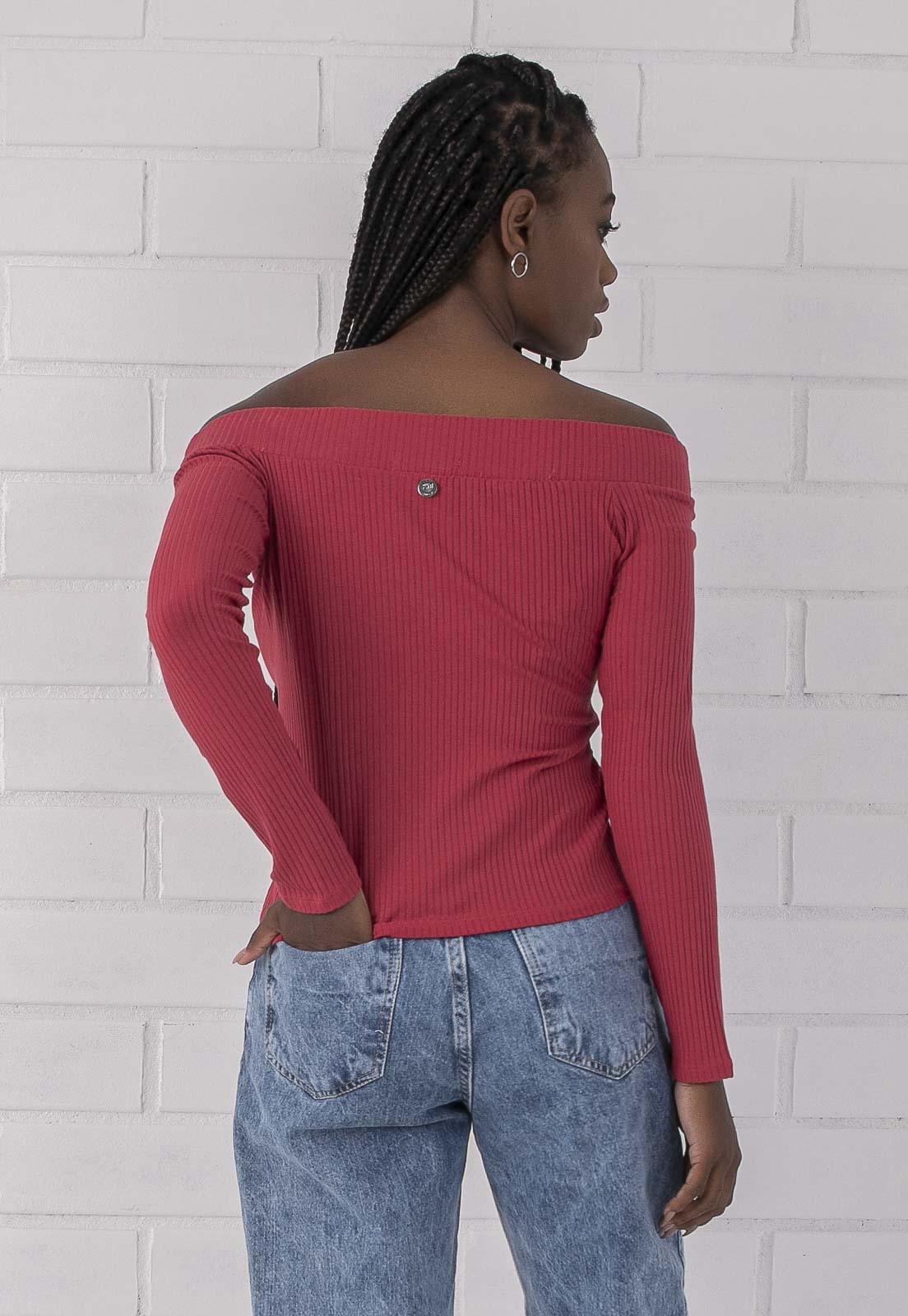 Blusa Canelada Ombro a Ombro Rosa Pkd
