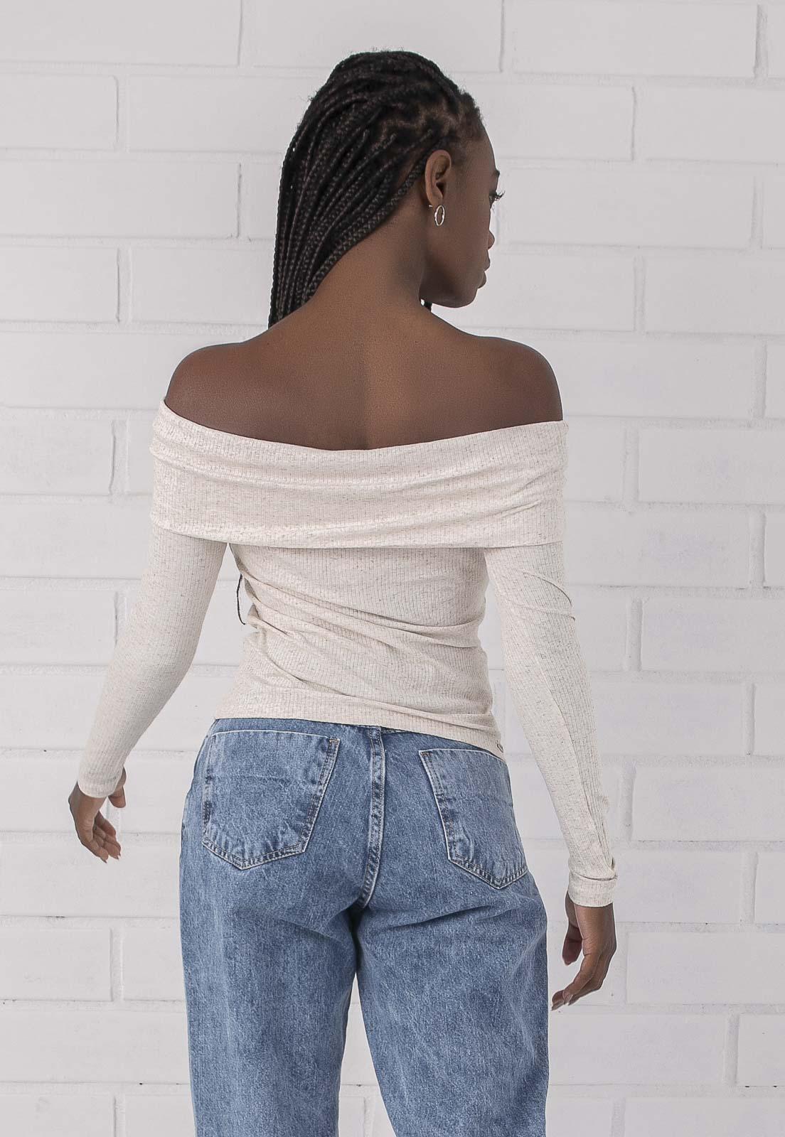 Blusa Decote Ombro a Ombro Bege Pkd