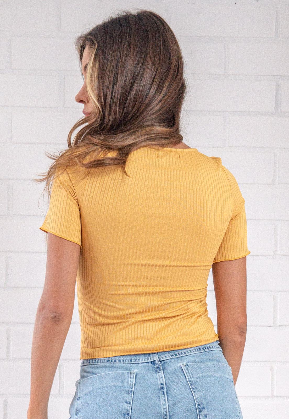 Blusa Canelada Decote Quadrado Mostarda Penelope Pkd