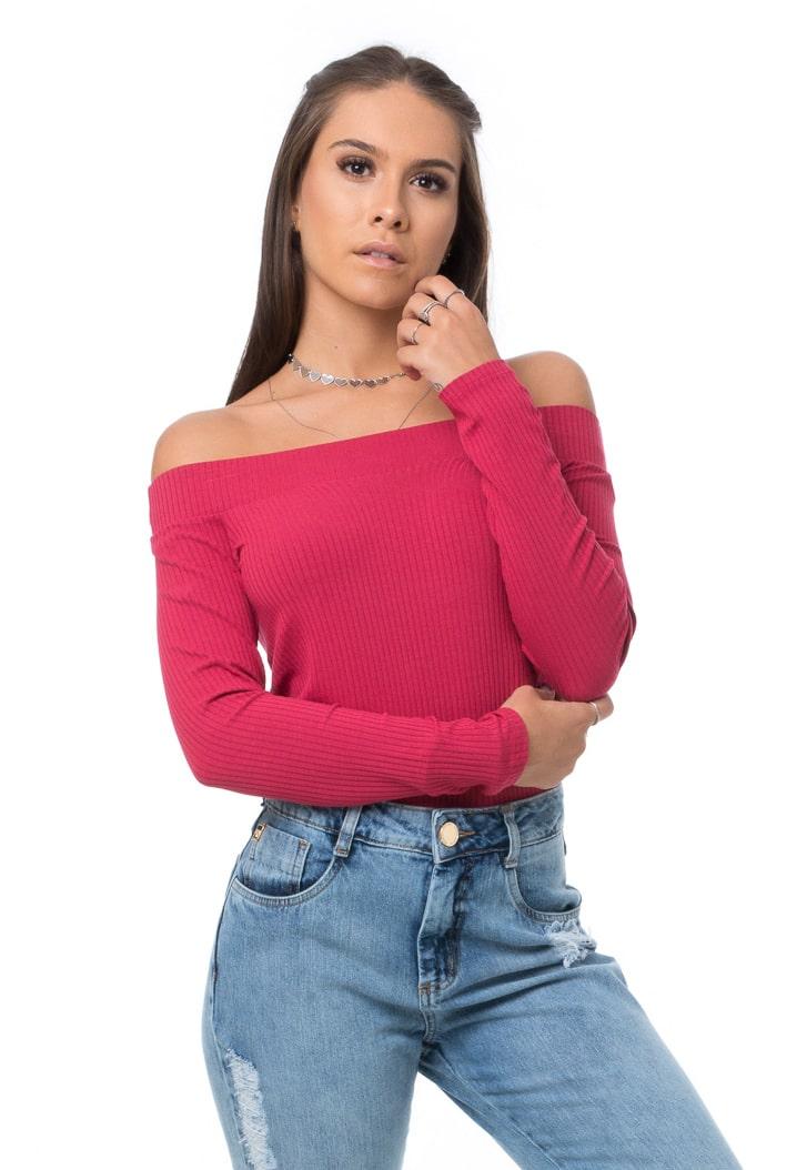 Blusa Pkd Canelada Ombro a Ombro Rosa