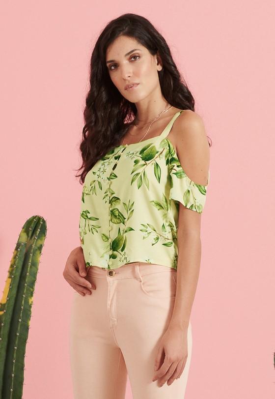 Blusa Pkd Com Abotoamento Floral Verde