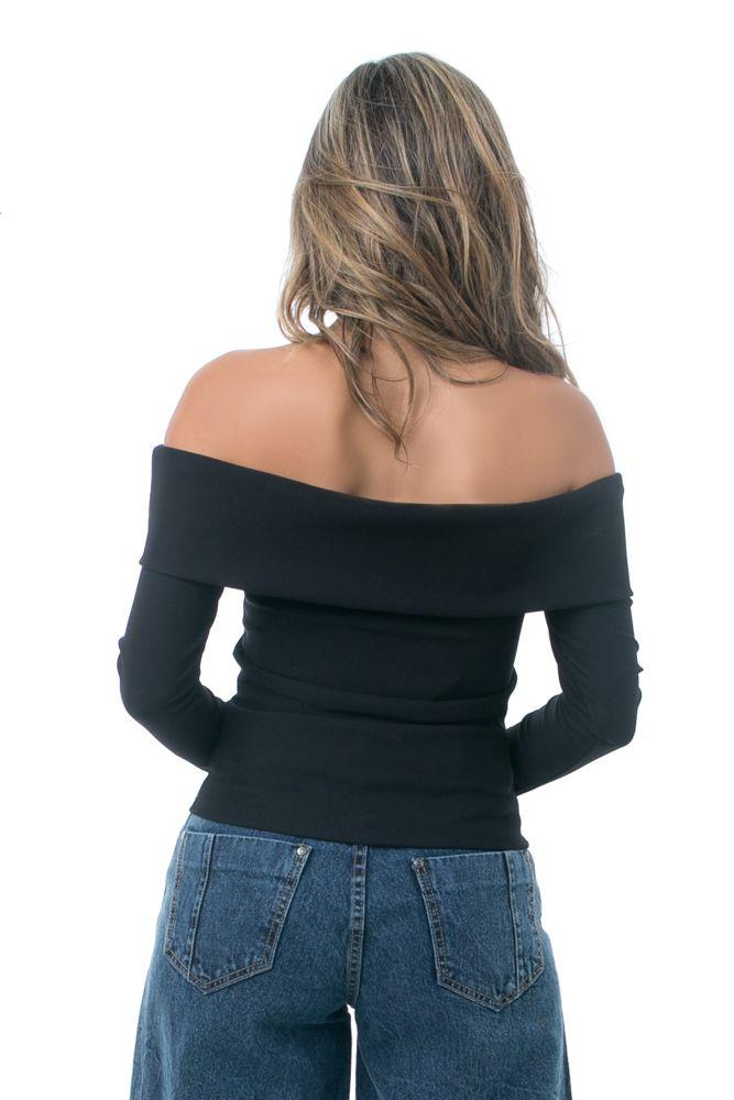 Blusa PKD Ombro a Ombro Preta