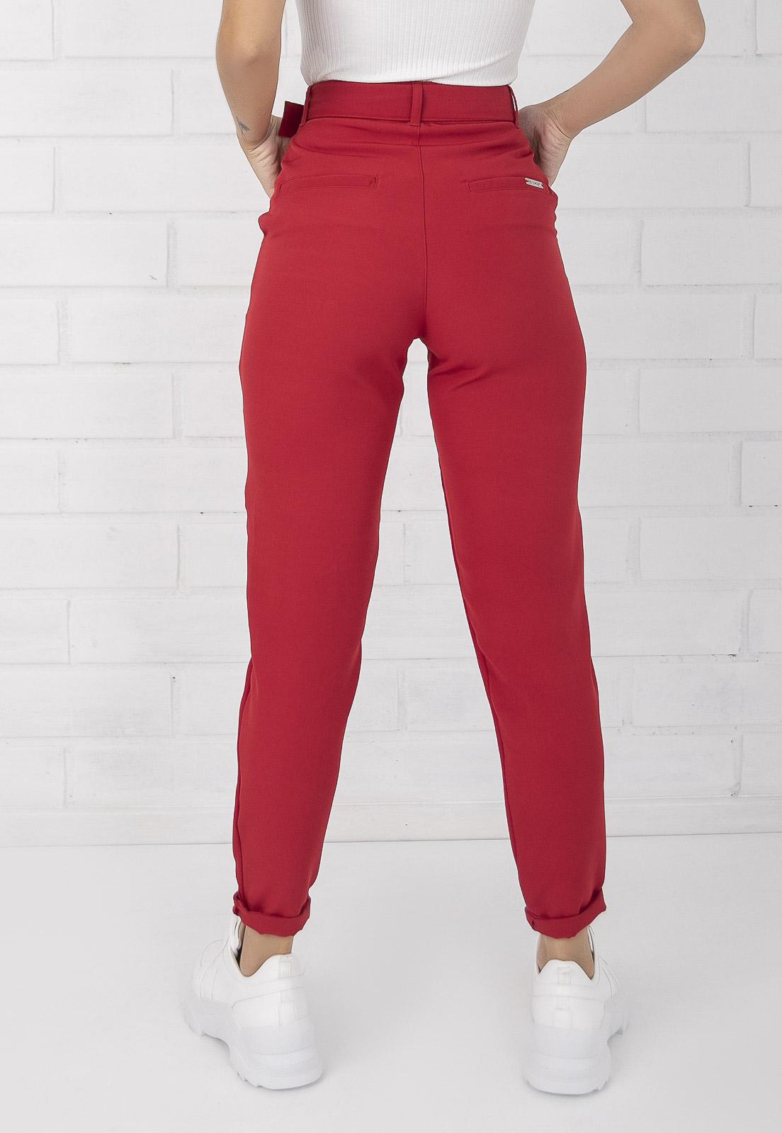 Calça Alfaiataria de Tecido Com Cinto Vermelha Olívia Pkd