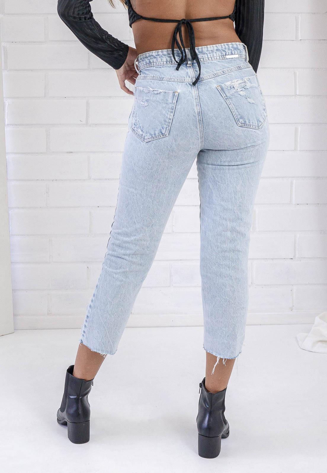Calça Cropped Destroyed Jeans Suzy Pkd
