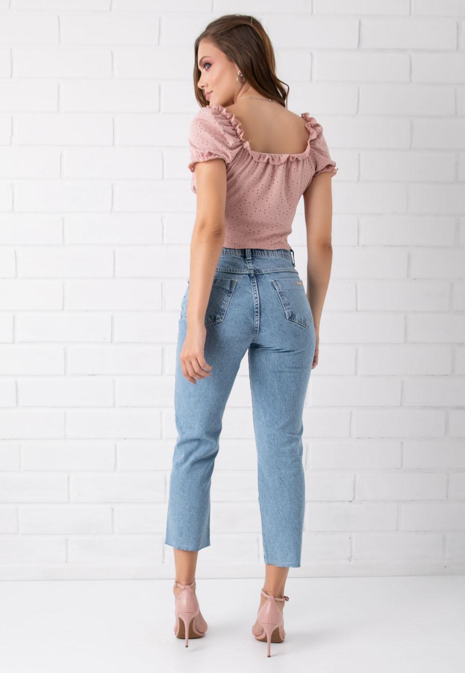 Calça Cropped Reta  Jeans Suzy Pkd