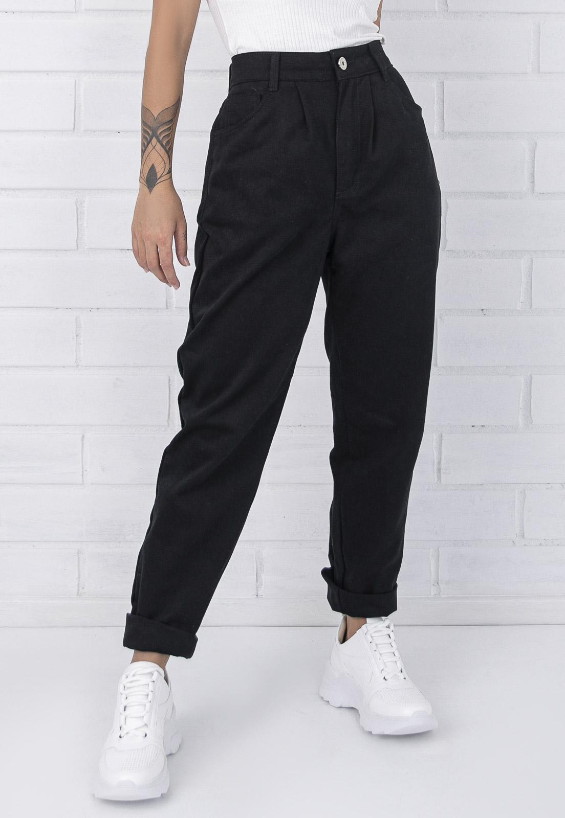 Calça Jeans Slouchy Naomi Preta Pkd