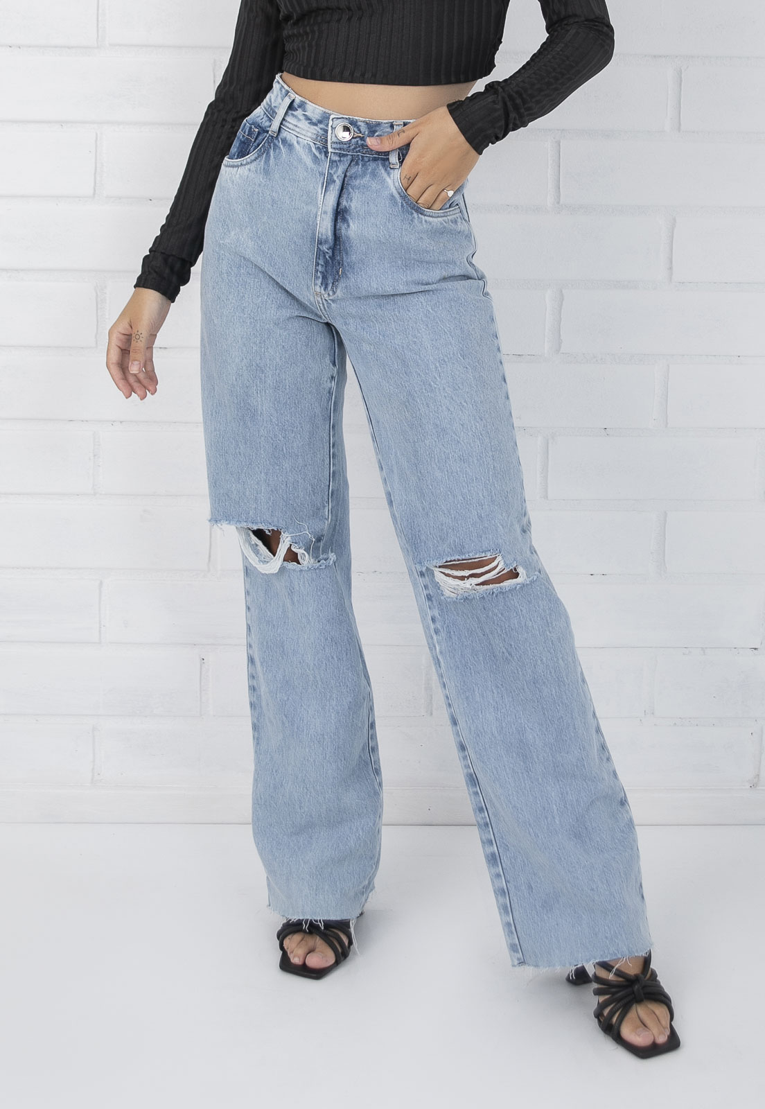 Calça Jeans Wide Leg Pietra Destroyed Pkd