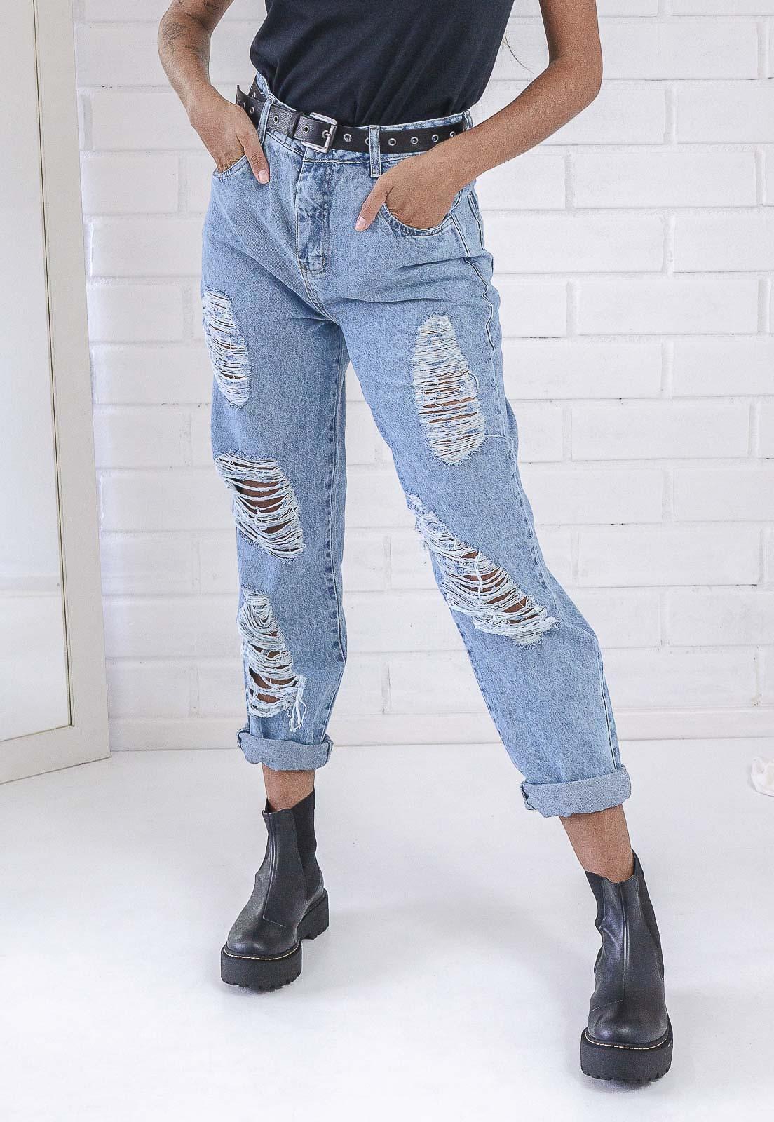 Calça Mom 272 Destroyed Jeans Clara Pkd