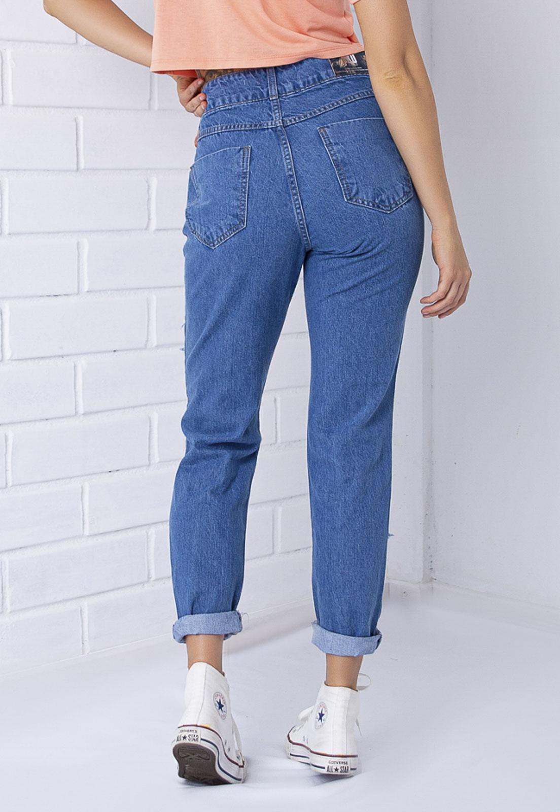 Calça Mom 272 Destroyed Jeans Escura Pkd