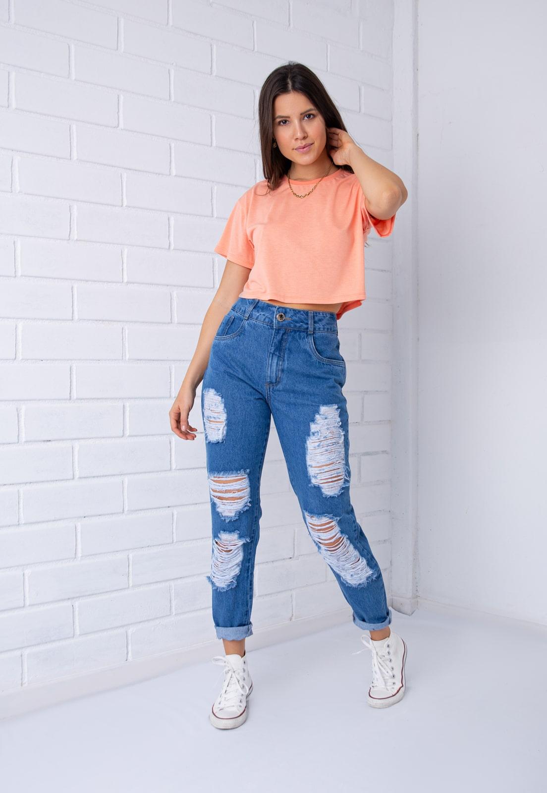 Calça Mom 272 Pkd Destroyed Jeans Escura