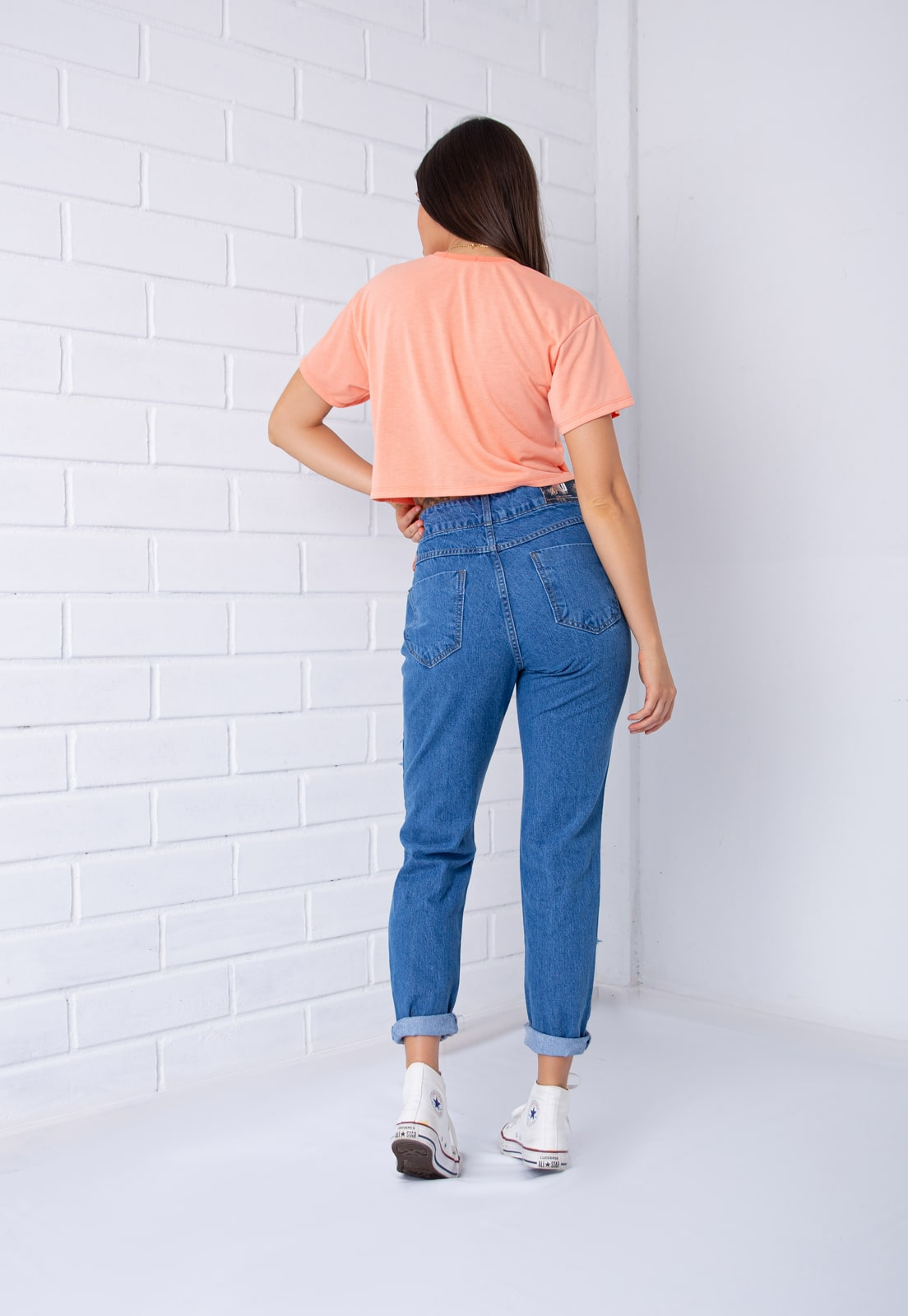 Calça Mom Pkd Destroyed Jeans Azul Intenso