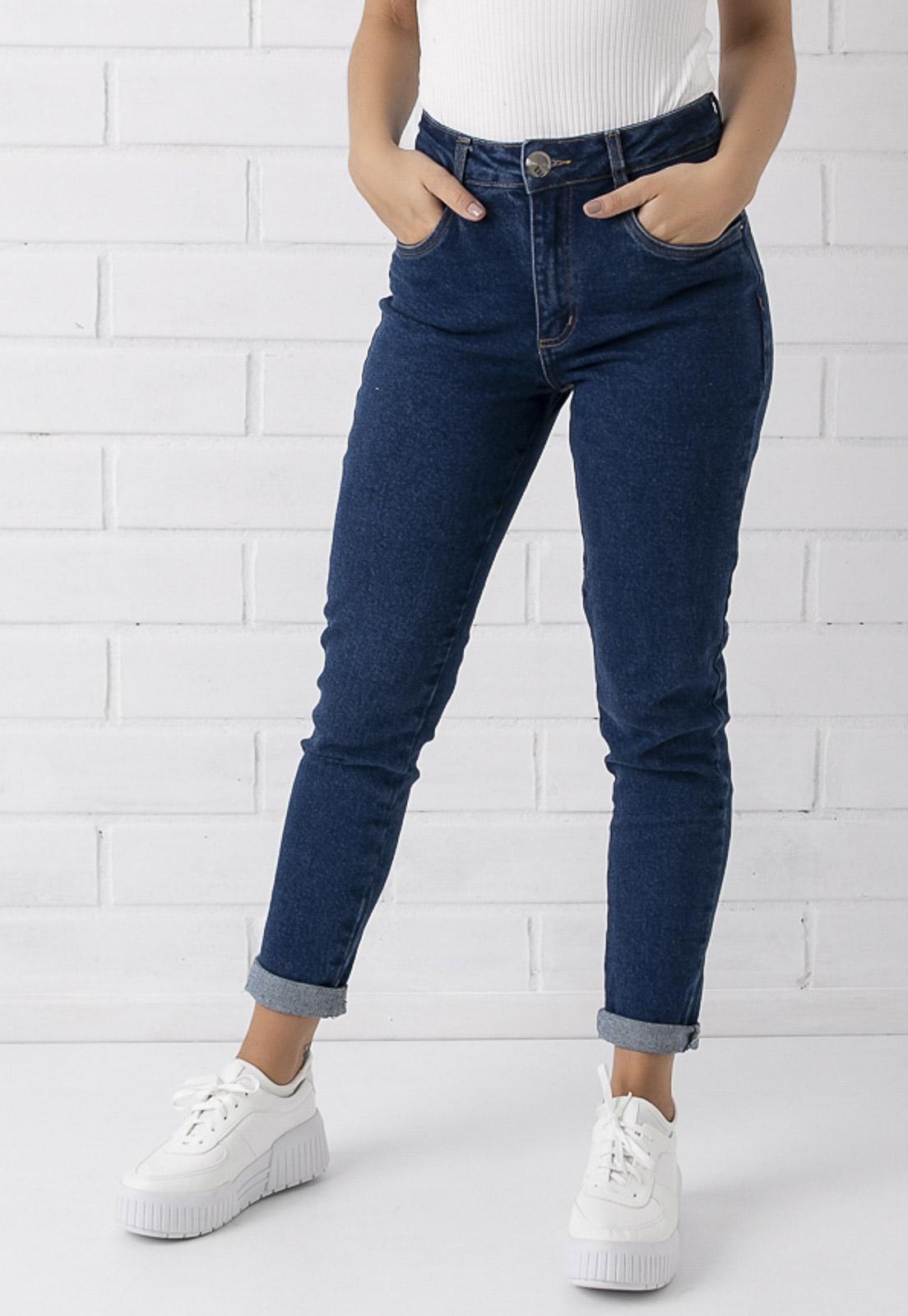 Calça Mom Jeans Escura Com Elastano Kim Pkd