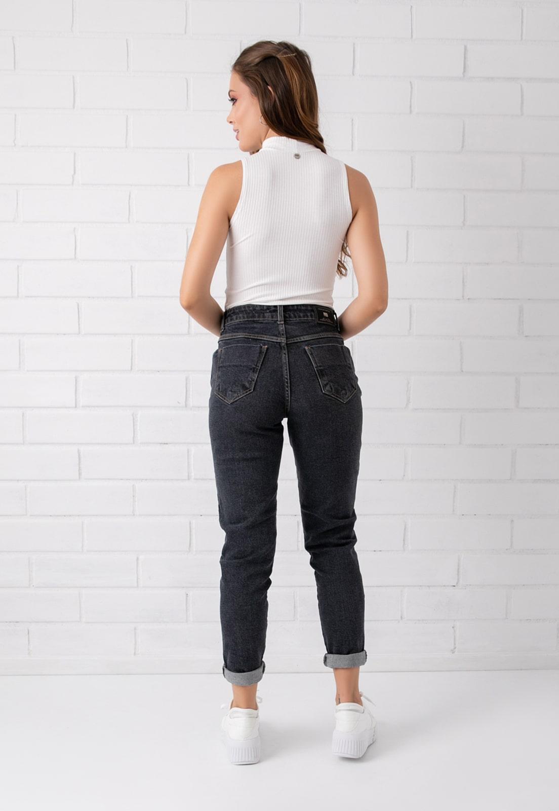 Calça Mom Pkd Com Elastano Jeans Black