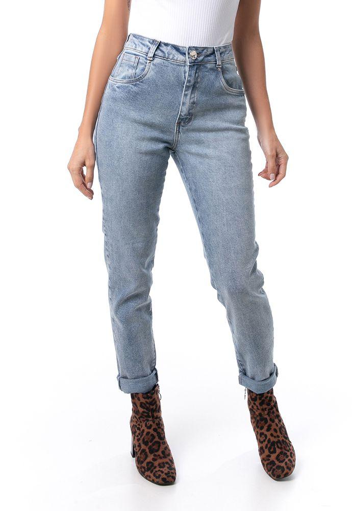 Calça Mom Pkd Com Elastano Jeans Clara