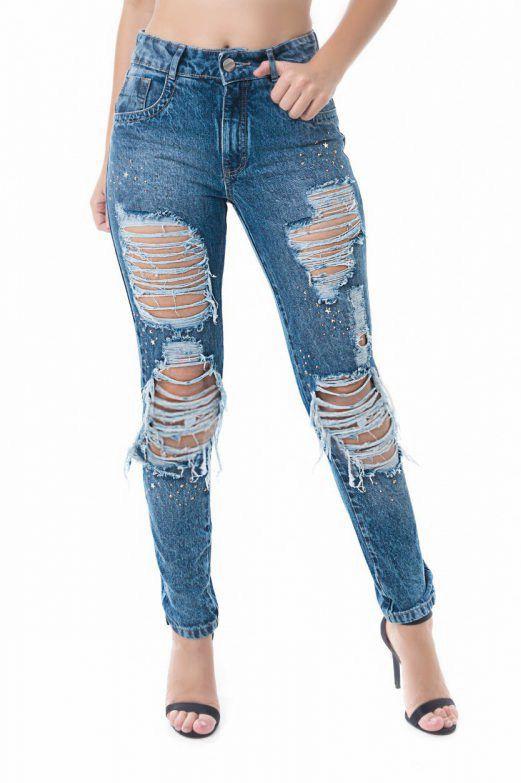 Calça Mom Pkd Destroyed Com Aplicação Jeans