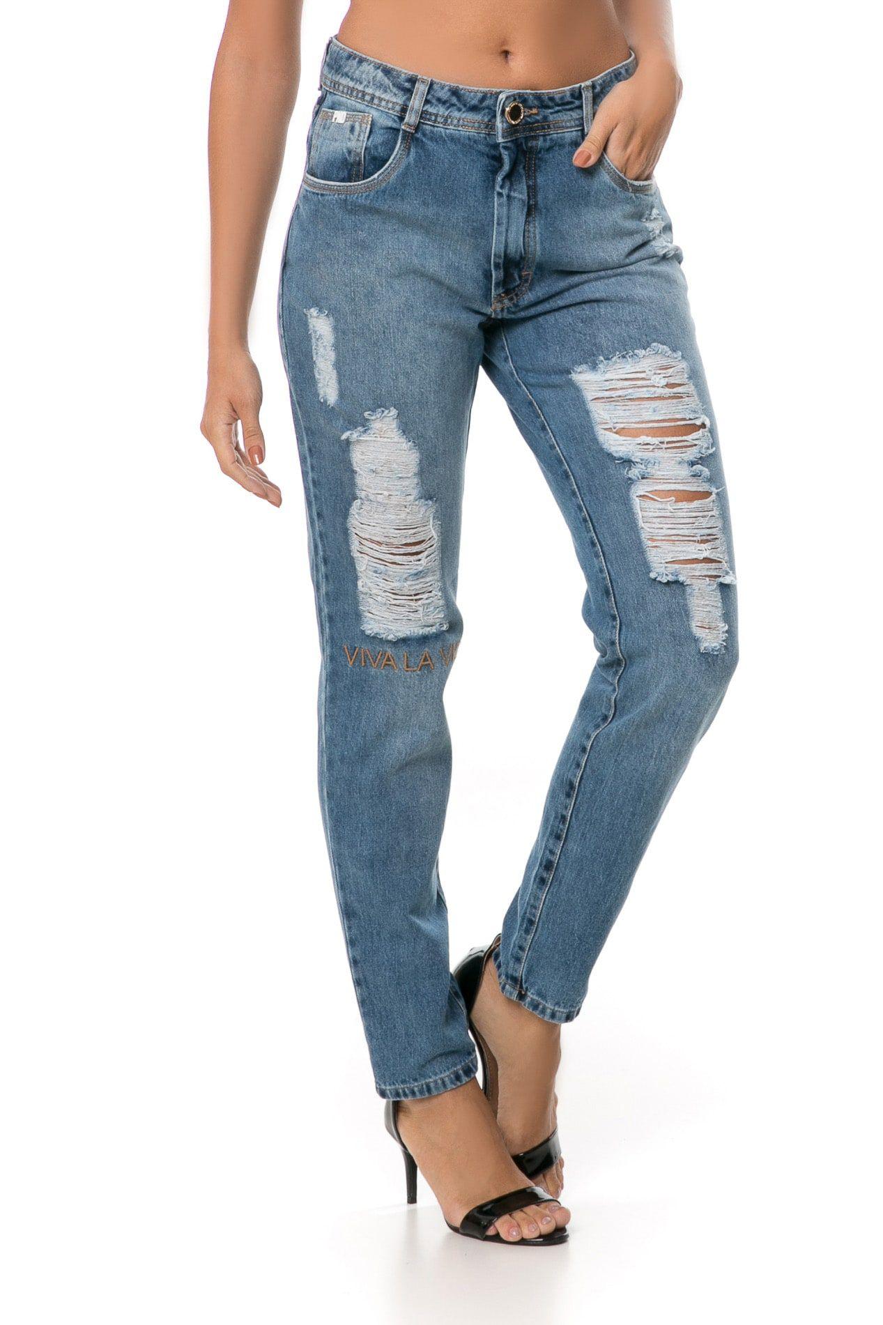 Calça Mom Pkd Destroyed Com Bordado Jeans