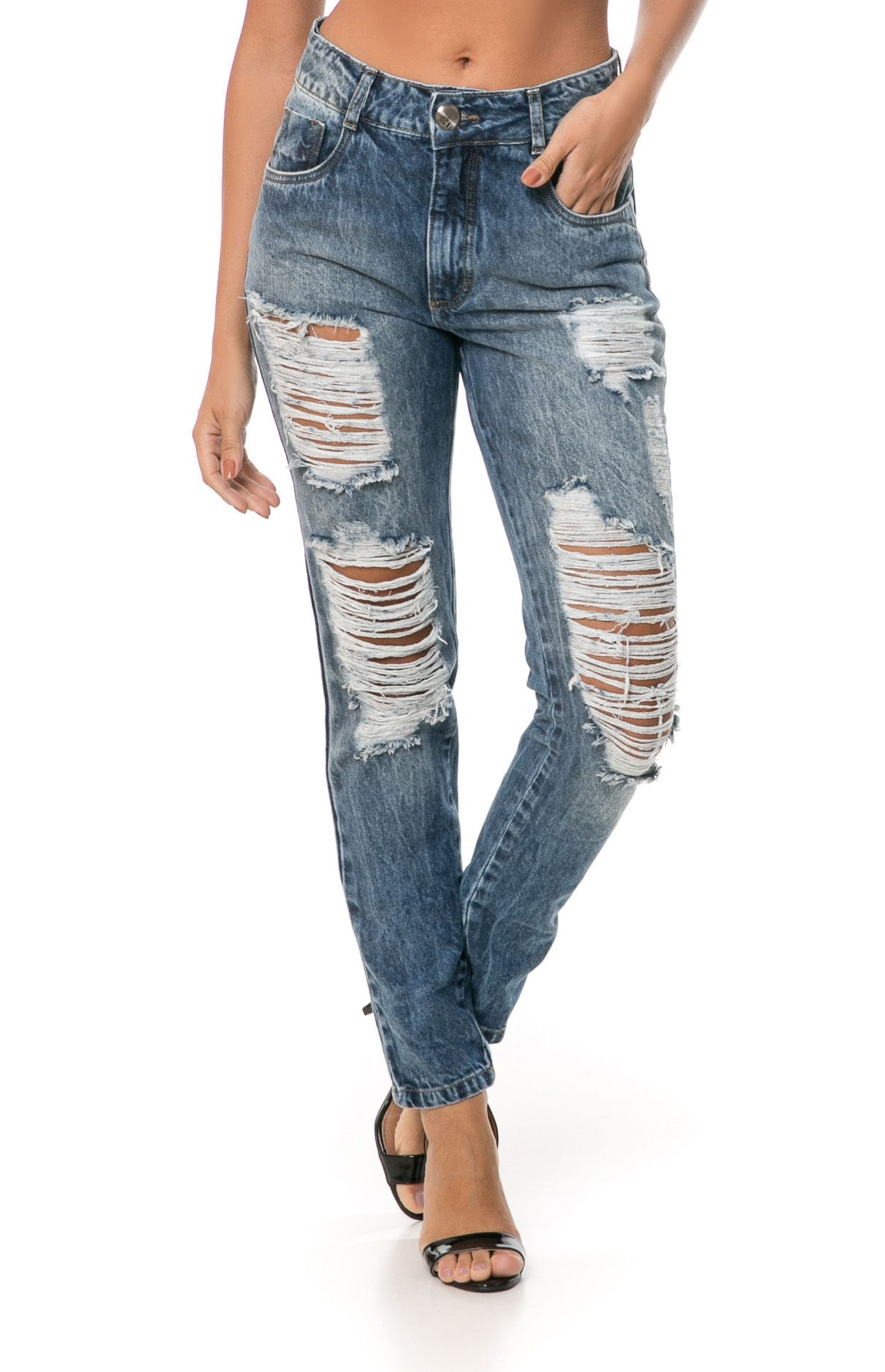 Calça Mom Pkd Destroyed Jeans