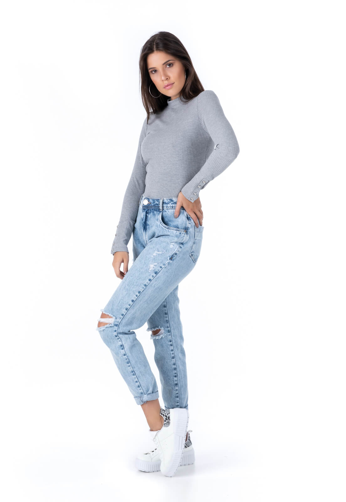 Calça Mom Pkd Destroyed Jeans Clara