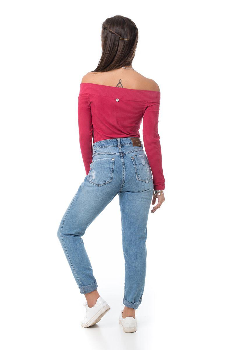 Calça Mom Pkd Vintage Rasgada Jeans