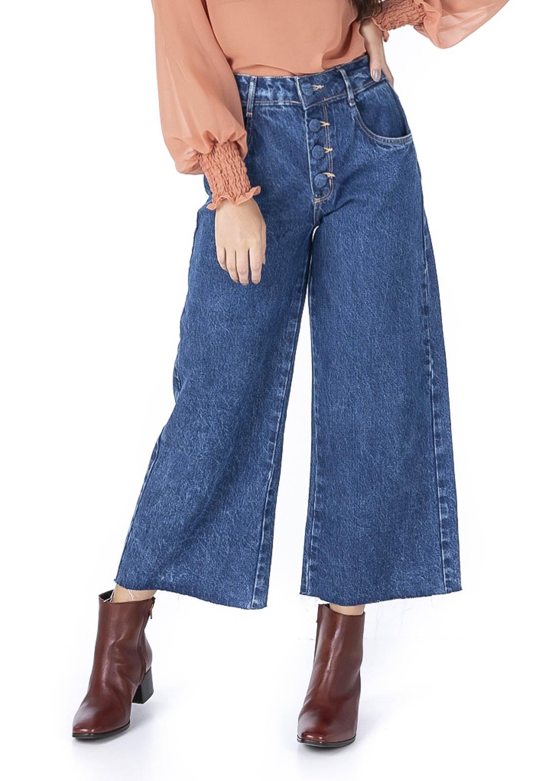 Calça Pantacourt Botões Encapados Jeans Escuro Pkd