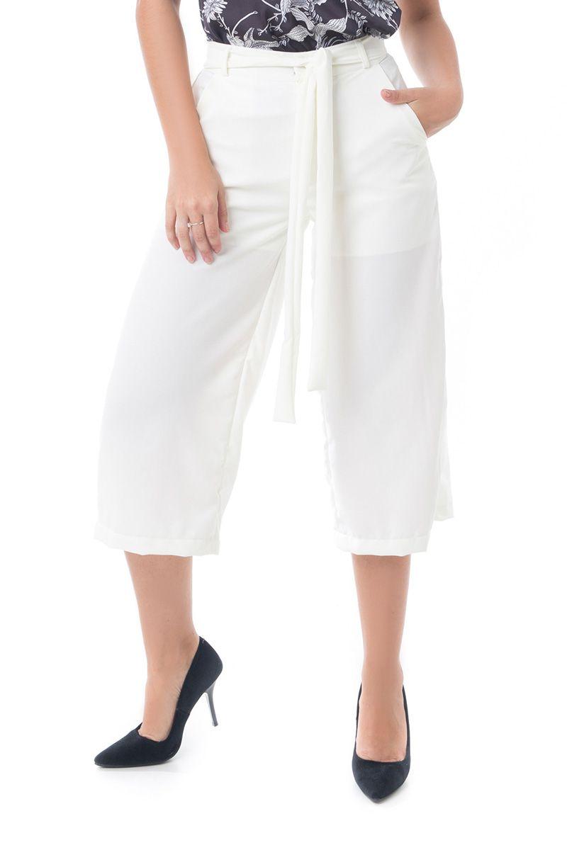 Calça Pantacourt Pkd Com Amarração Off White