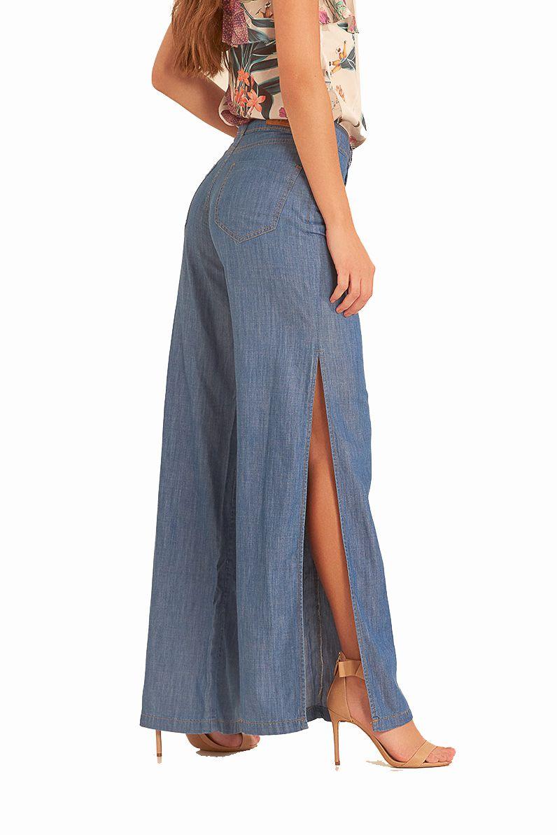 Calça Pantalona Pkd Com Fendas Jeans