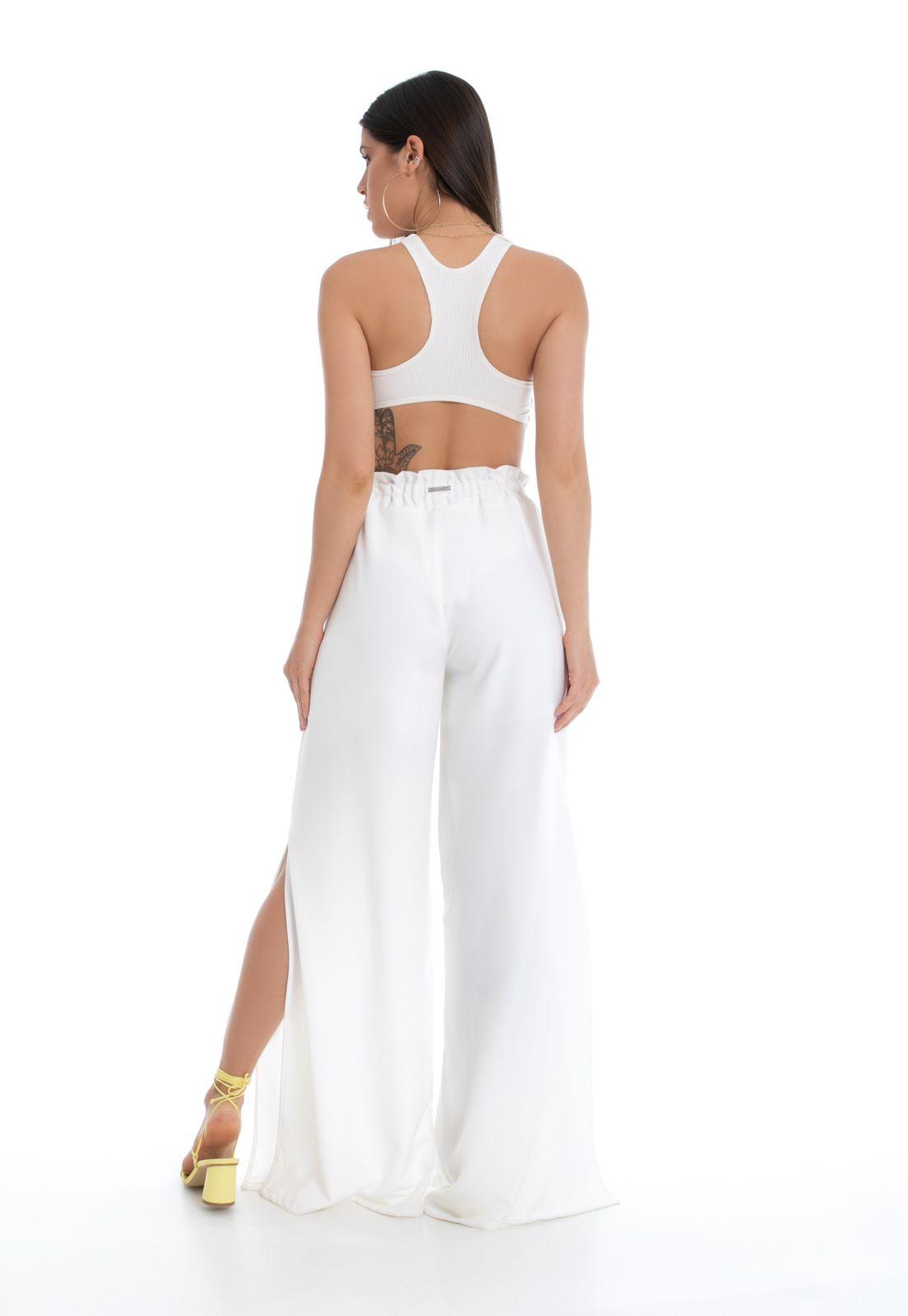 Calça Pantalona Pkd Com Fendas Off White
