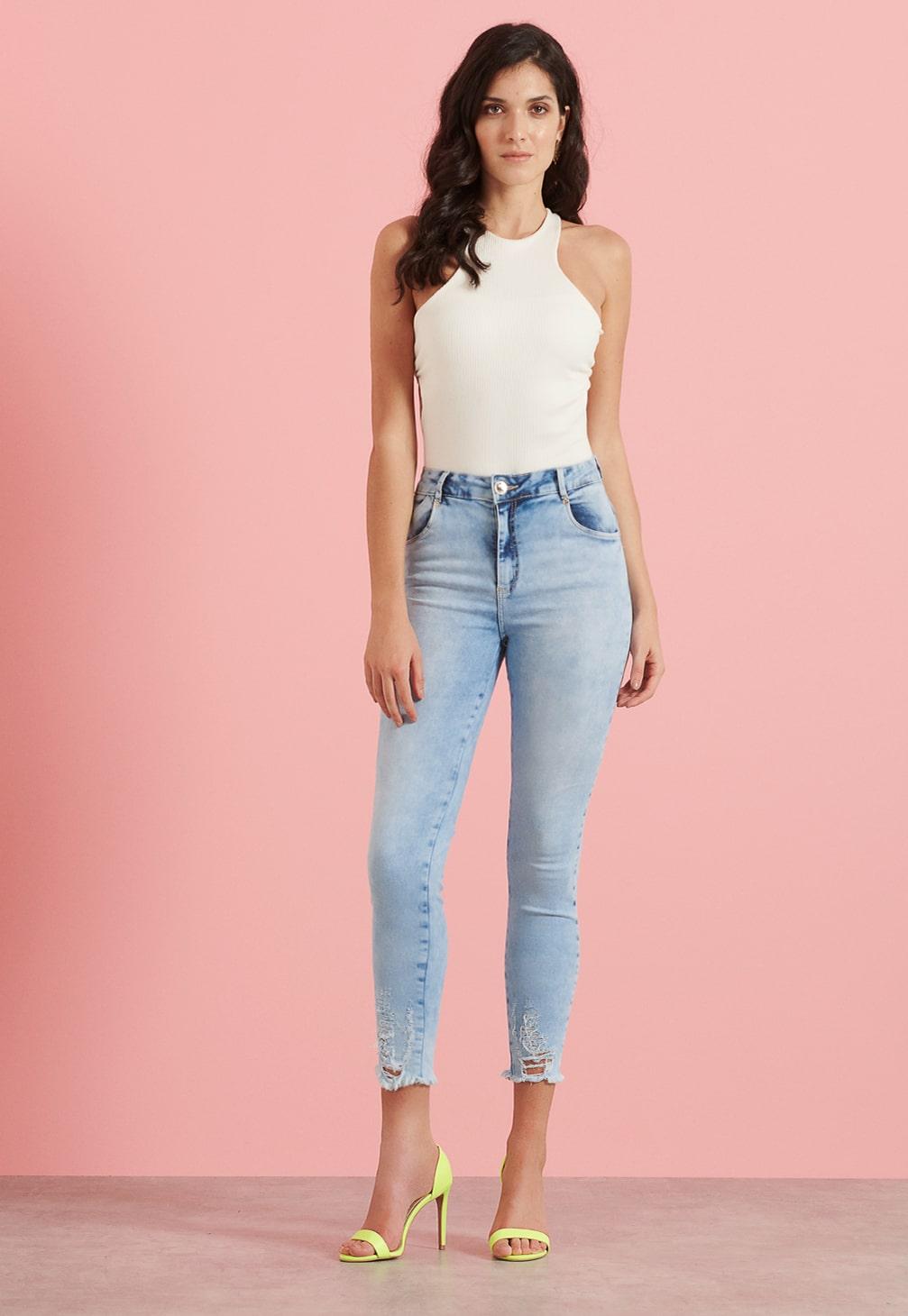 Calça Pkd Cropped Gancho Alto Jeans