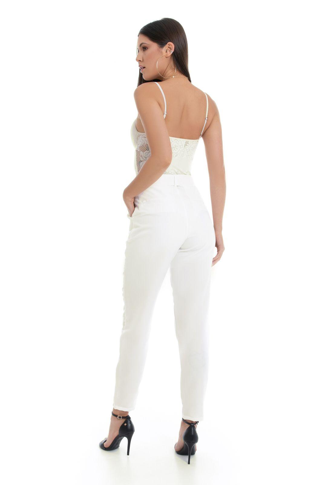 Calça Pkd de Tecido Com Cinto Off White